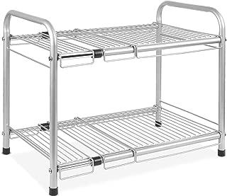 Zerone estanter/ía de Almacenamiento Extensible Estante para bajo Fregadero modulable estanter/ía de Cocina para Almacenamiento de ba/ño Ajustable en Acero Inoxidable