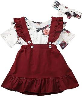 Conjunto de ropa de bebé de manga corta + falda de lazo o vestido de algodón corto para niños pequeños, 2 piezas, 3 meses ...