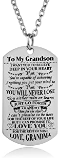 Grandson Necklace Love Grandson Dog Tag Believe Inspirational Gifts from Grandma Grandmother to Grandson Birthday Graduation Gifts