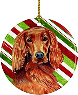 Caroline's Treasures LH9254-CO1 Irish Setter Candy Cane Holiday Christmas Ceramic Ornament, Multicolor