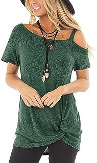 e929e2ab SAMPEEL Women's Casual T Shirts Twist Knot Tunics Tops