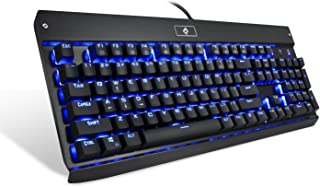 Eagletec KG010 Mechanical Keyboard, USB Wired Natural Ergonomic Keyboard, Industrial Aluminium, Backlit and Blue Switch with 104 Illuminated LED backlighted Keys for Windows PC Office Gamer - Black