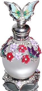 Waltz&F Light Blue Butterfly Jeweled Vintage Perfume Bottle Empty Refillable Essential Oil Bottle 15ml
