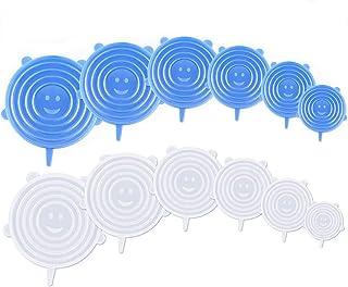 YOUYIKE® 12 Pièces Couvercles en Silicone, Couvercle Extensibles en Silicone sans BPA, Couvercle Universel de 6 Tailles Di...