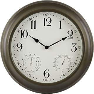 "BACKYARD EXPRESSIONS PATIO · HOME · GARDEN 914935 24"" Metal Indoor/Outdoor Weather Monitoring Clock, Rustic Brown"