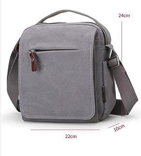 Multi-Functional Backpack - Men's Retro Fashion Casual Slung Canvas Bag (Light Coffee Color, Gray, Blue Black) (Color : Gray)