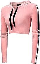 Allegra K Women's Cropped Hoodie Velvet Contrast Striped Crop Sweatshirt Long Sleeve Top with Drawstrings