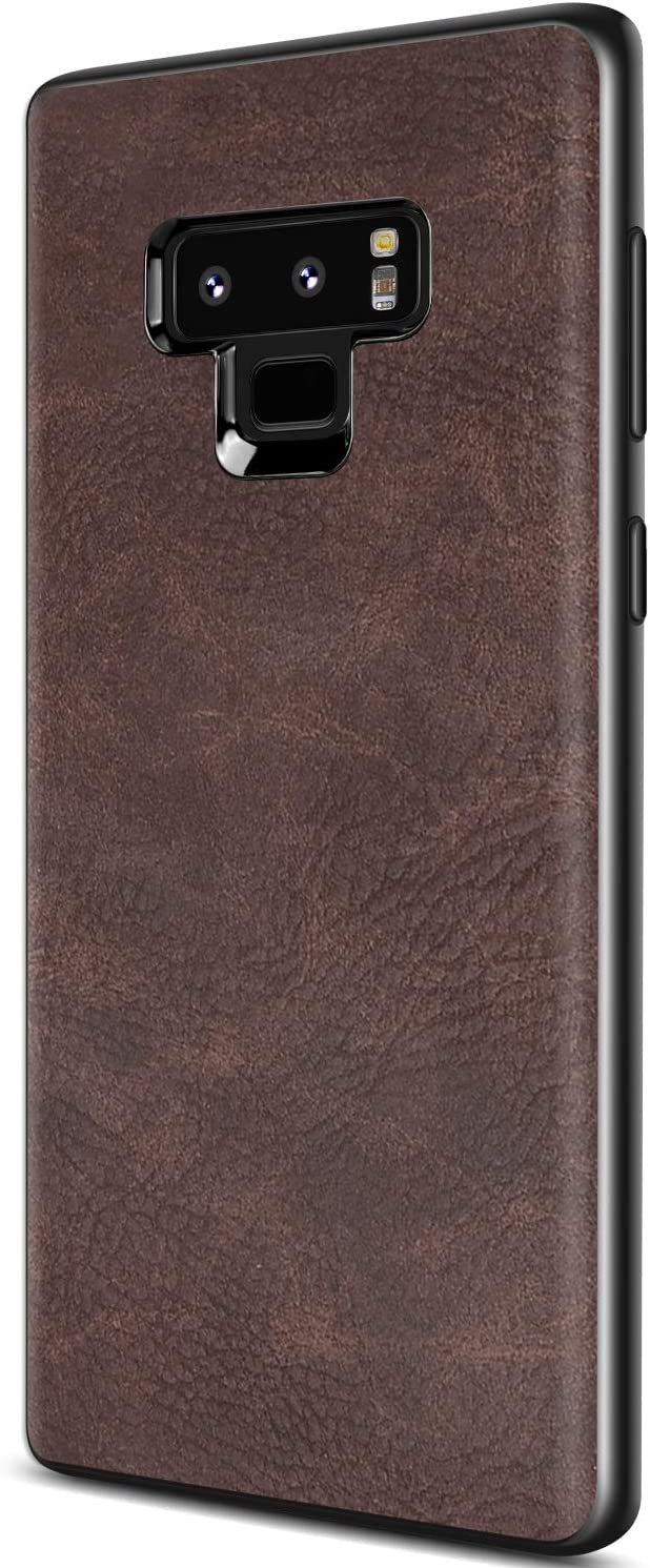 Samsung Galaxy Note 9 Case, Salawat Slim PU Leather Vintage Shockproof Phone Case Cover Lightweight Premium Soft TPU Bumper Hard PC Hybrid Protective Case for Samsung Galaxy Note 9 (Dark Brown)