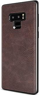 SALAWAT Samsung Galaxy Note 9 Case, Slim PU Leather Vintage Shockproof Phone Case Cover Lightweight Premium Soft TPU Bumper Hard PC Hybrid Protective Case for Samsung Galaxy Note 9 (Dark Brown)