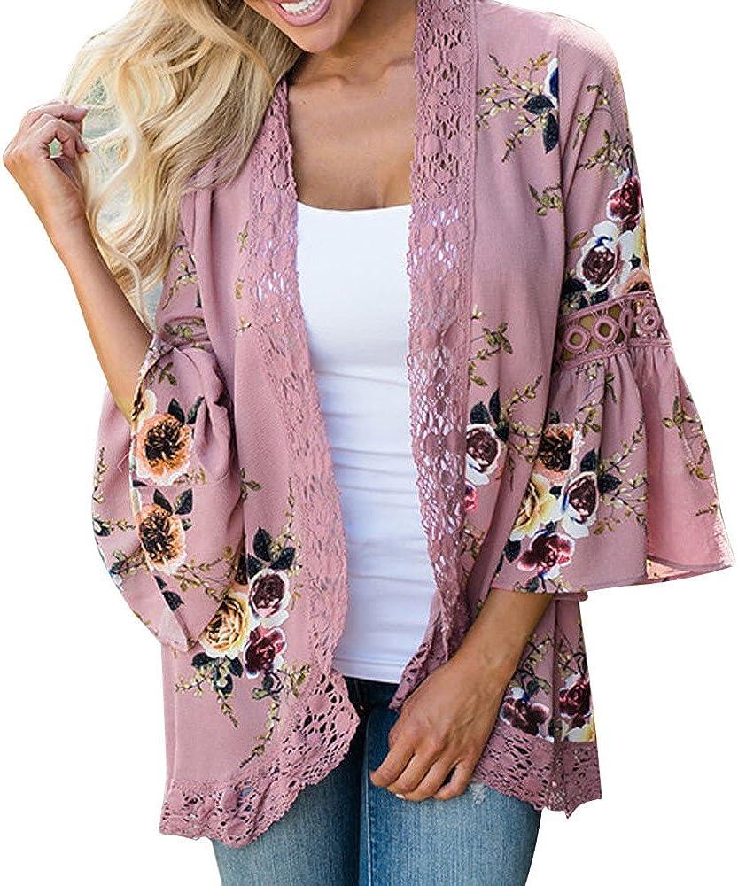 Womens Lace Floral Open Cape Casual Coat Blouse Kimono Jacket Cardigan