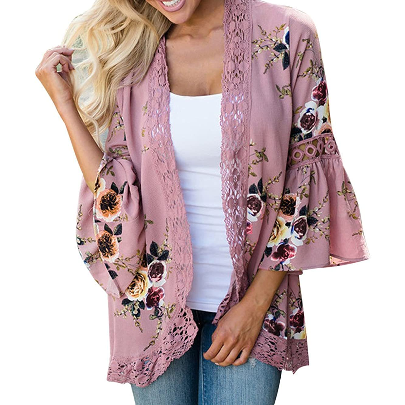HAALIFE??Womens Floral Loose Bell Sleeve Kimono Cardigan Lace Patchwork Cover Up Blouse Top