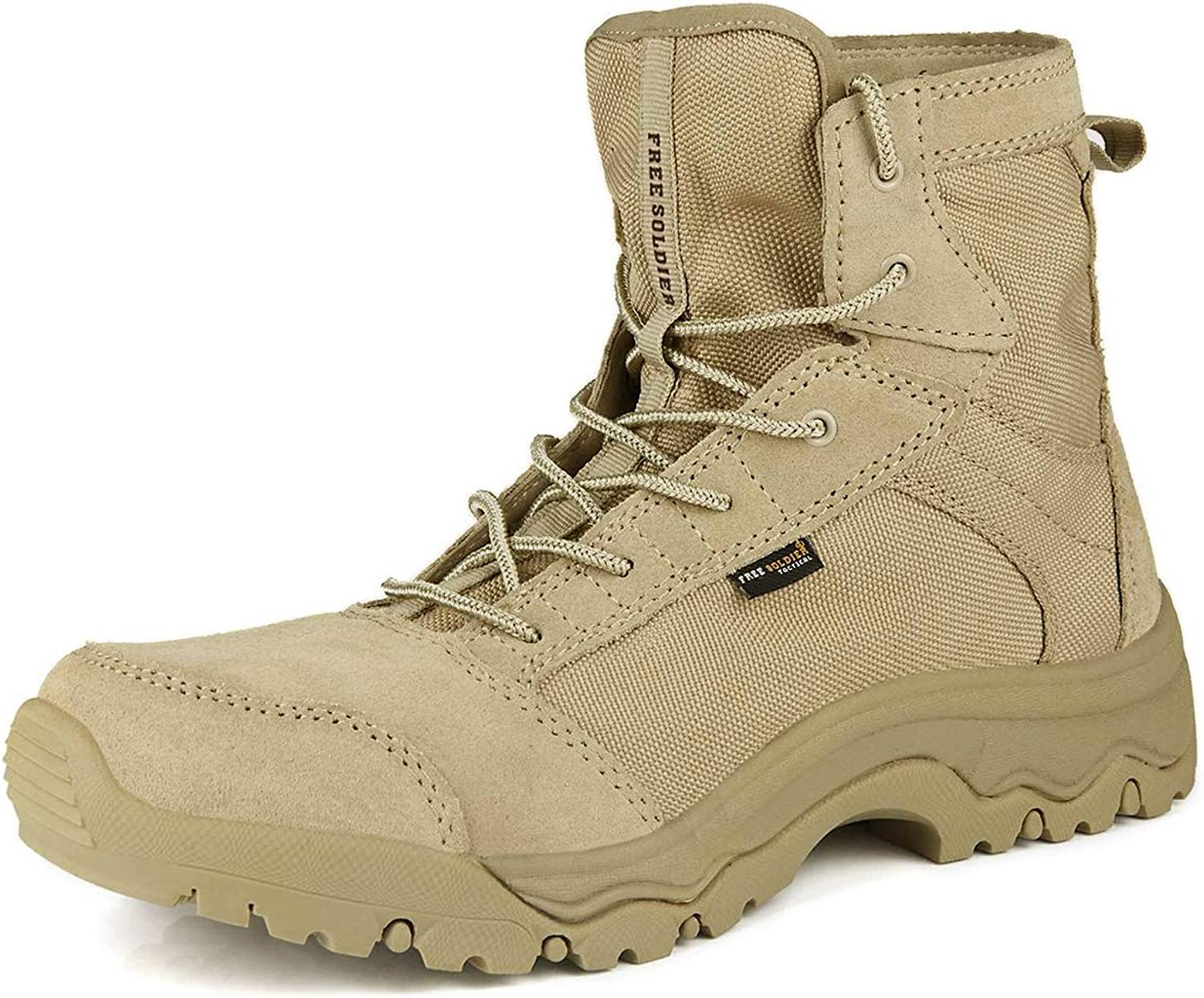 FREE SOLDIER Men's Work Boots Lightweight Army Tactical Boots for Hiking - Desert Tan Boots
