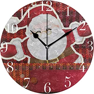 Dozili Cute Merry Christmas Funny Santa Claus Round Wall Clock Arabic Numerals Design Non Ticking Wall Clock Large for Bedrooms,Living Room,Bathroom