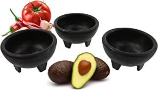 Black 3-Legged Plastic Molcajete Salsa Bowls for Homemade Dips, Party Foods, Picnic Condiments, Sauces & Toppings (2 Pack, 11 oz) by Enqargo