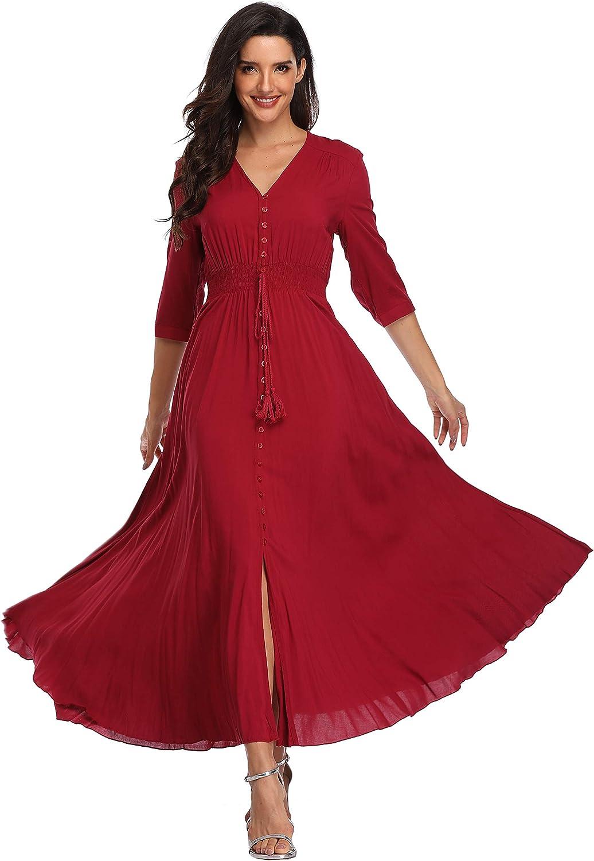 Summer Floral Print Maxi Dress Women Button Up Split Long Flowy Bohemian Beach Party Dresses