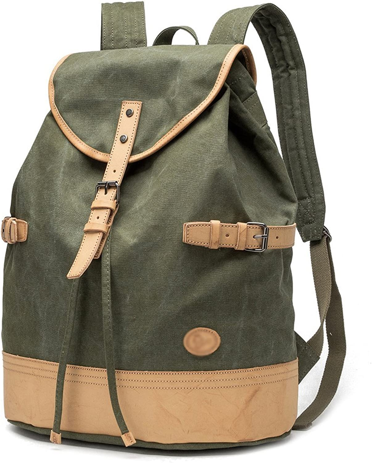 LLQ.LQ Backpack Canvas Retro Student School Bag Outdoor High Capacity Travel Bag Male Female Backpack Leisure Portable Multifunction Travel greenical Section AntiTheft