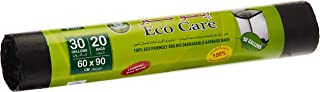Eco Care Black Garbage Bag Roll - 20 Count, 30 Gallons, 60x90cm