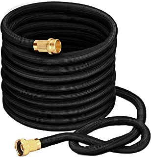 VicTsing Expandable Garden Hose, 50FT More Durable Lightweight Expanding Heavy Duty Hose, Latest Extra Strength Leakproof Seamless Fabric, Suitable for Cleaning Car, Washing Pet, Watering Plants-Black