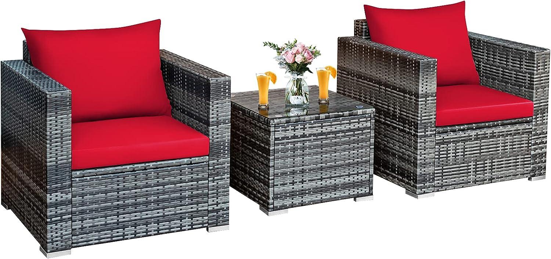 Tangkula 3 Max 52% OFF Pieces Patio online shopping Furniture Set Wicker Rattan Sofa PE