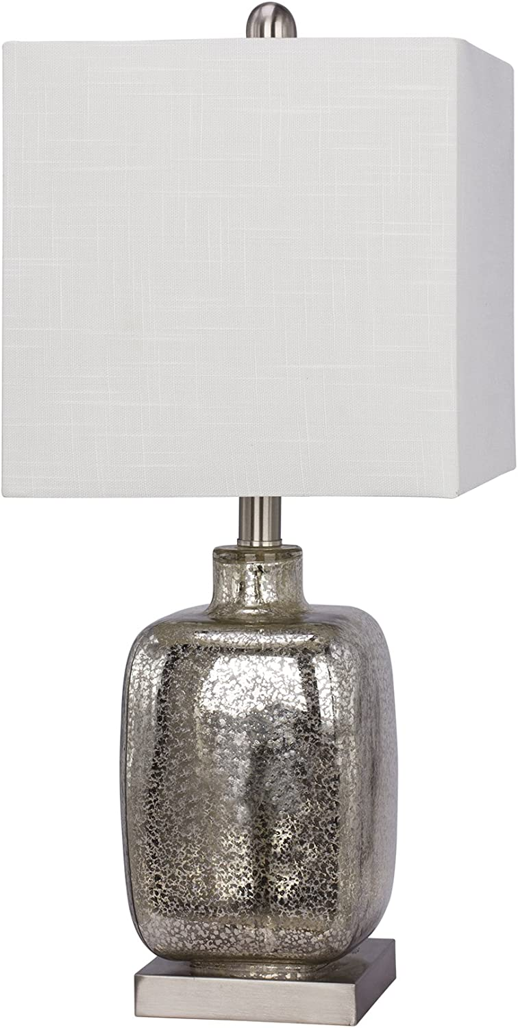 Fangio Lighting 5111 22  Glass & Metal Table Lamp, Silver