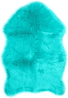 Faux Fur Sheepskin Rug – Teal, Furry Rugs for Vanity Seats Chairs Cover - Plain Shaggy Area Luxury Home Throw Plush Seat Pad, Bedroom, Kids Rooms, Living Room Floor Faux Australian Rugs, 2ft x 3ft