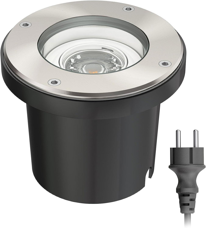Ledscom  Bodeneinbaustrahler BOS für auen schwenkbar Edelstahl rund IP67 150mm  inkl. 5W LED Lampe 300lm warmwei und Netzteil