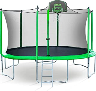 Merax 14 FT Round Trampoline with Safety Enclosure, Basketball Hoop and Ladder, BV Certificated – Basketball Trampoline