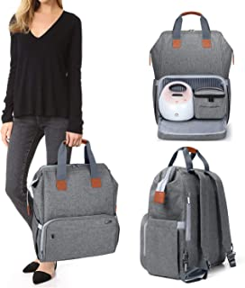 Luxja Breast Pump Bag with Compartments for Cooler Bag and Laptop, Breast Pump Backpack with 2 Options for Wearing (Fits M...