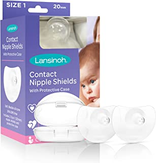 Lansinoh Contact Nipple Shield with Carrying Case, Size 2 (20 Milimeters) 2 Count, Small Size Nipple Protector for Breastf...