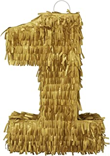 Lytio Gold Number One Pinata Limited Edition Party for Birthday, Classy Celebration, Centerpiece Decor, Anniversary (One)