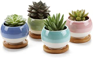 T4U 3 Inch Succulent Planters Pots Ceramic, Ball Shape Drainage Cactus Pots Window Boxes with Bamboo Tray, Set of 4