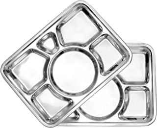 PRC Set Of 2 Cafeteria Mess Trays; Stainless Steel 16 In. x 11 In. Rectangular 6-Compartment Divided Plates/Cafeteria Food Trays