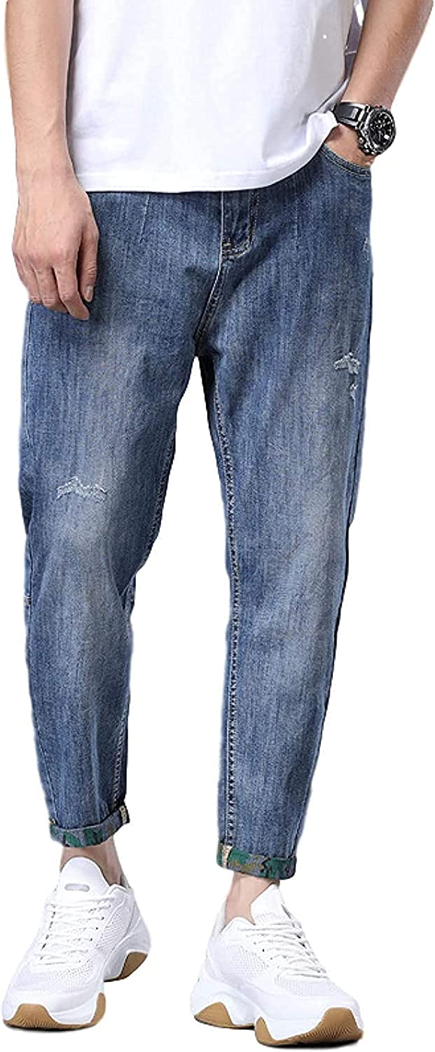 Men's Tapered Jeans with Ripped Relaxed Regular-fit Denver Mall 40% OFF Cheap Sale Cuffed Holes