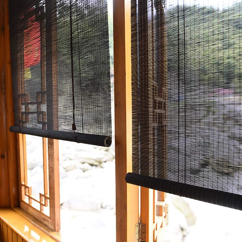 FF Estores enrollables Persianas enrollables para Exteriores para garajes de pérgola de Patio, sombrilla Exterior de Madera con Gancho, Negro, 70/90/110/130/140 cm de Ancho (Size : 110×190cm): Amazon.es: Hogar