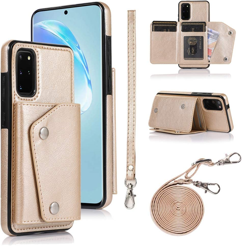 LUVI for Galaxy S20 Plus 5G Wallet Case with Crossbody Neck Strap Handbag Wrist Strap Protective Cover with Credit ID Card Holder Slot PU Leather Case for Galaxy S20 Plus 5G Gold