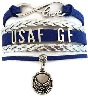 Kit's Kiss USAF Bracelet, Air Force Bracelet, Airman Bracelet, Love Infinity Bracelet, Leather Bracelet