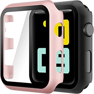 Hianjoo (2 Pack) Case Compatible with Apple Watch Series 3 Series 2 38mm, Built-in Ultra Thin HD Tempered Glass Screen Pro...