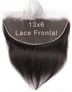 SingleBest 13x6 Lace Frontal Straight Brazilian Virgin Human Hair Free Part Full Lace Ear to Ear Closure With Baby Hair Natural Color 8 inches