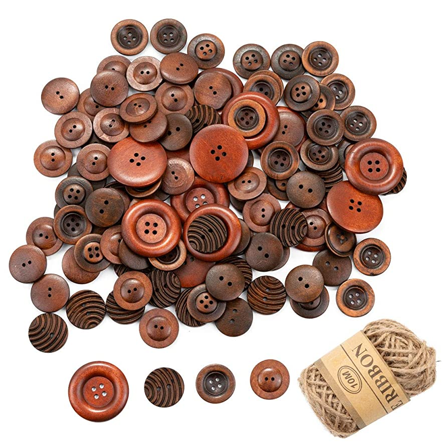 170Pcs Round Wood Buttons Sewing Natural Wooden Buttons for Sewing Children Sweater Coat Jacket Jean Art DIY Crafts with 1 Roll Strings