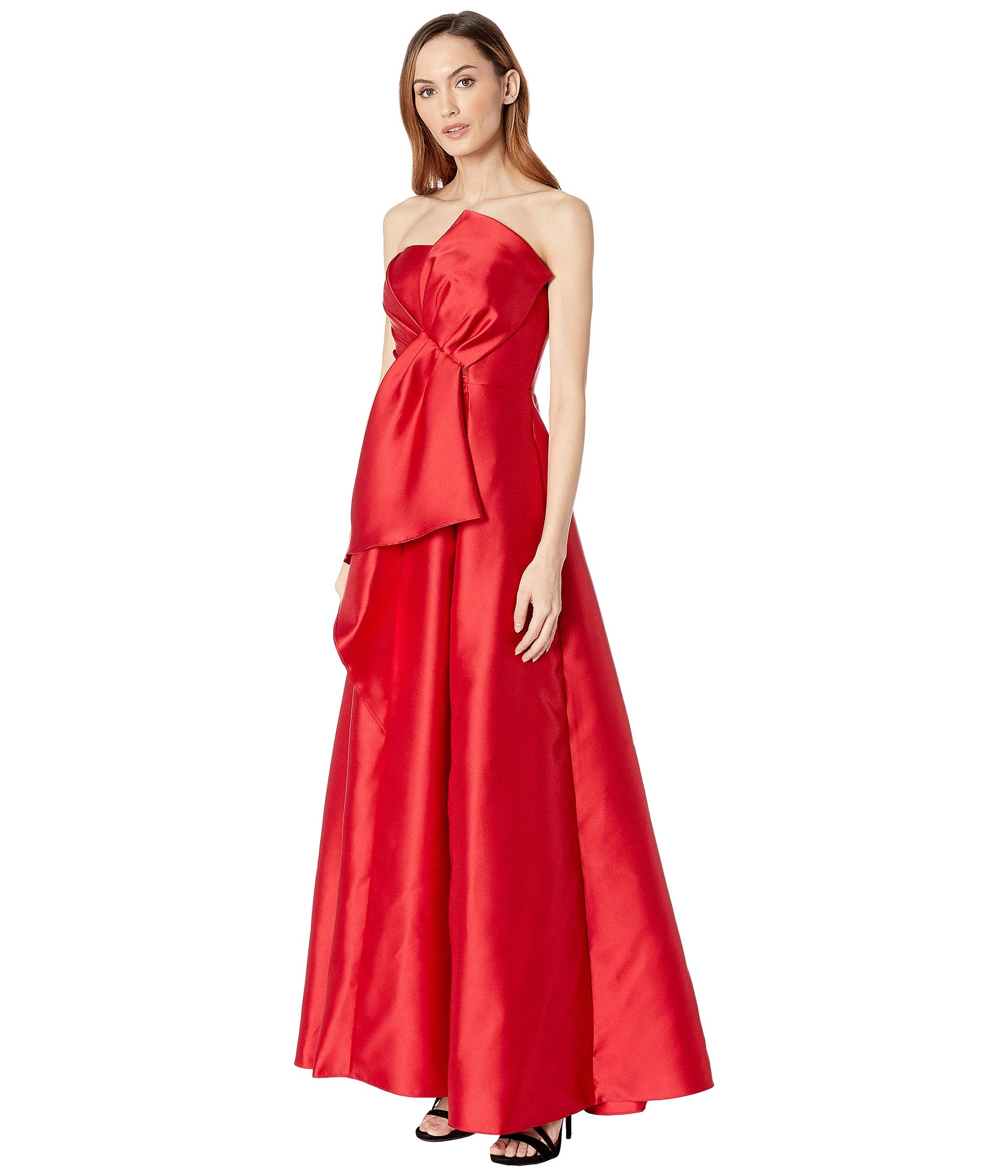 Red Papell Adrianna Strapless Mikado Dress Bow X7Sa6w