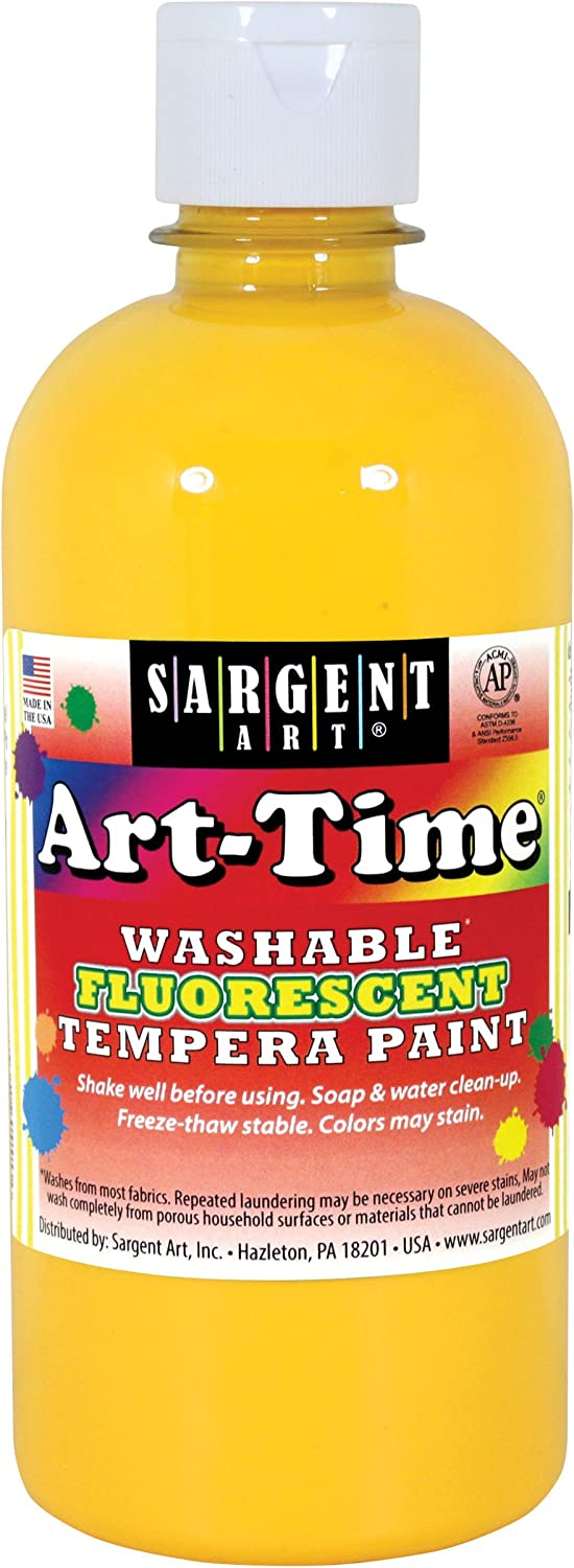 Sargent Art 17-4702 Art-Time 16oz 4 years warranty New Shipping Free Shipping Washable Fluorescent Te Yellow