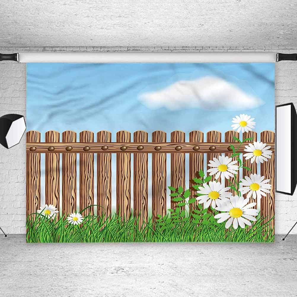7x7FT Vinyl Photo Backdrops,Flower,Cartoon Art Gardening Theme Photo Background for Photo Booth Studio Props