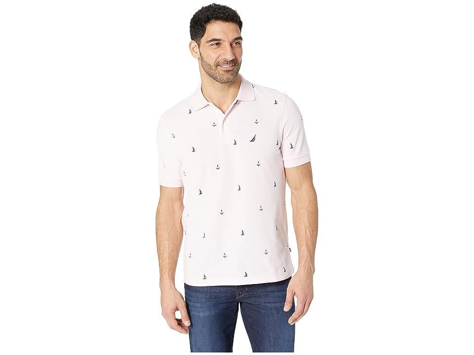 Nautica Short Sleeve Anchor Print Deck Polo (Cradle Pink) Men