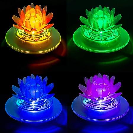 Solar Pond Lights Waterproof LED RGB Solar Floating Lights Swimming Pool Pond Floating Night Lights Decorations(4Pcs Lotus)