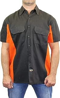 SHORE TRENDZ Men's Basic Mechanic Work Shirt Front Button Up Biker Short Sleeve Front Pockets