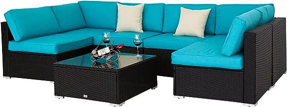 Kinbor Black All-Weather Rattan Wicker Sofa Set Backyard Patio Furniture Cushioned Sectional Sofa Conversation Sets