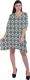 RADANYA Geometric Loose Short Dress Cotton Kaftan Caftans for Women