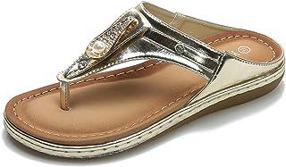 ZAPZEAL Sandale Bout Ouvert Femme Confortables Cuir PU Tongs Plates Bohème Brillant Spartiates Sandales et Nu Pieds Chauss...
