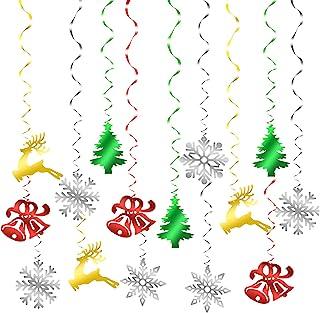 HONMOK 30pcs Adornos navideños Colgantes navideños Plástico Ornamentos de Navidad Verde roja Amarillo Copo de Nieve árbol ...