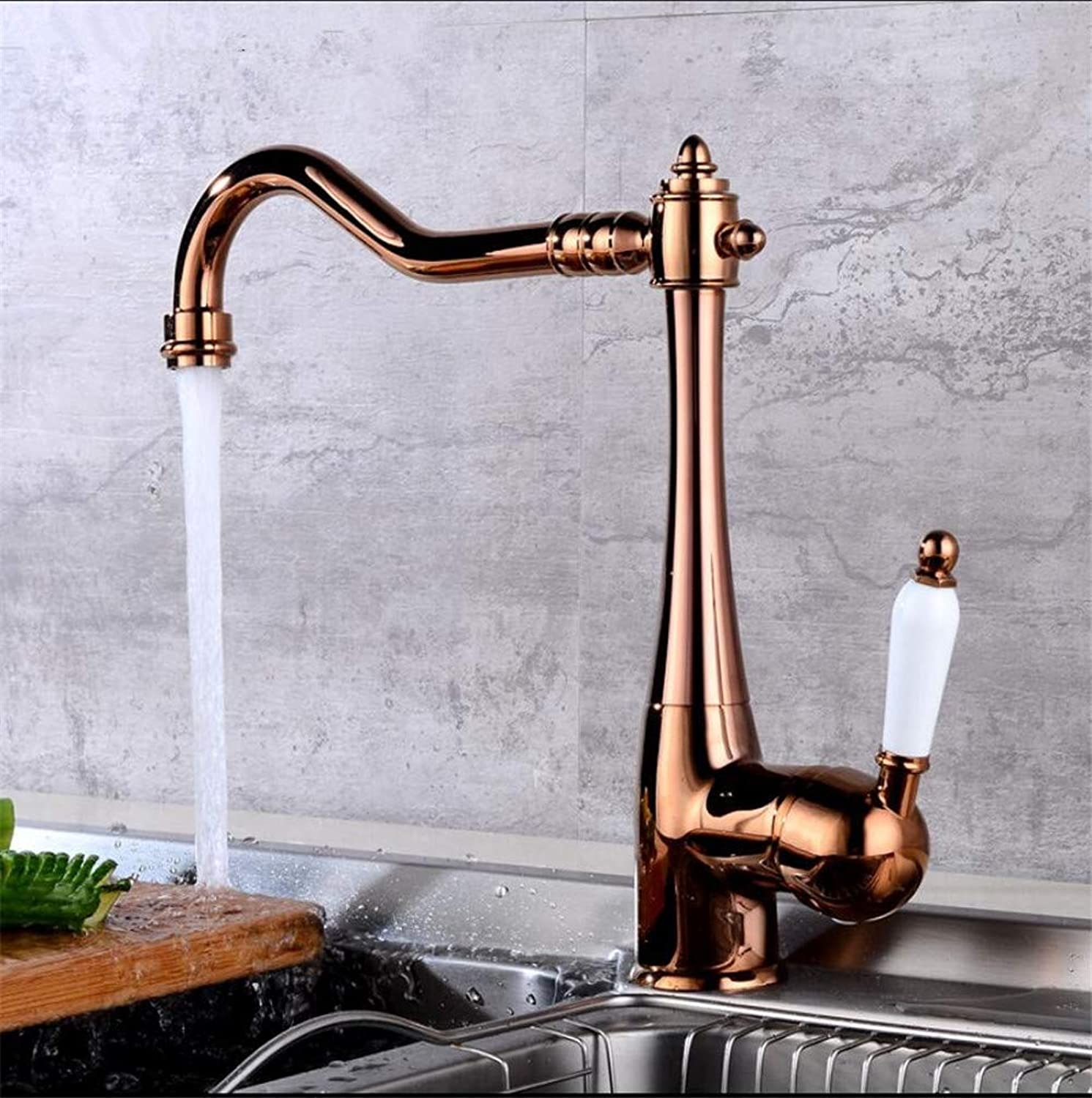 Oudan Brass pink gold Finished Hot and Cold Single Lever Kitchen Sink Faucet Ceramic Cartridge (color   -, Size   -)